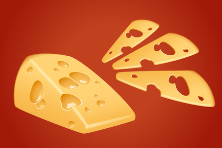 one piece: illustration of one piece of yellow cheese with sliced pieces on red background Illustration