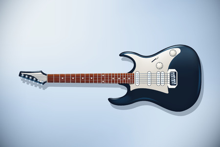 rosewood: illustration of electric two color guitar with front view on light background Illustration