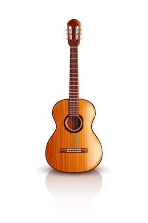 illustration of classic wooden guitar with front view on light background Vettoriali