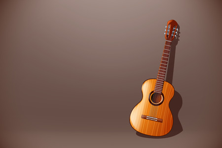 frets: illustration of classic wooden guitar with front view on dark background Illustration