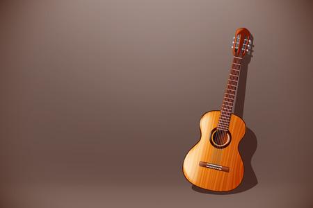 frets: ilustraci�n de guitarra cl�sica de madera con vista frontal sobre fondo oscuro Vectores