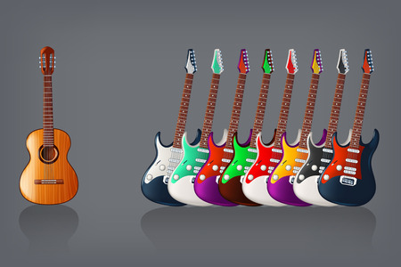 illustration of group of different color and type guitars on dark background
