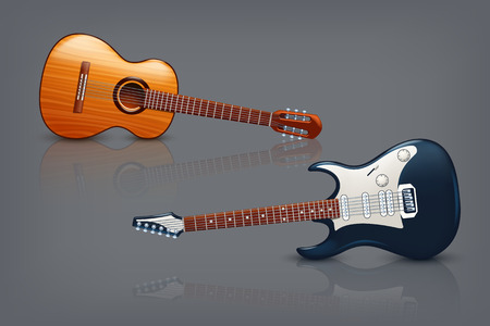 frets: illustration of two different types of guitar with reflection on dark background