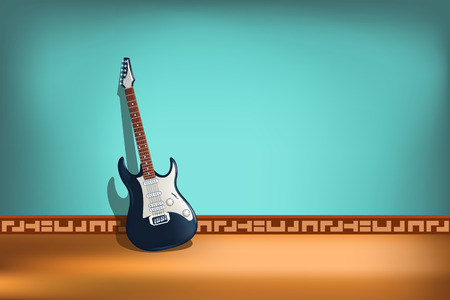 rosewood: illustration of electric two color guitar with front view on blue background
