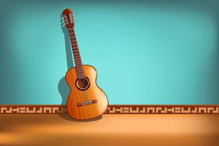 guitarra: ilustración de guitarra clásica en el fondo azul con vista frontal
