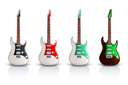 rosewood: illustration of set of electric two color guitar with front view on white background