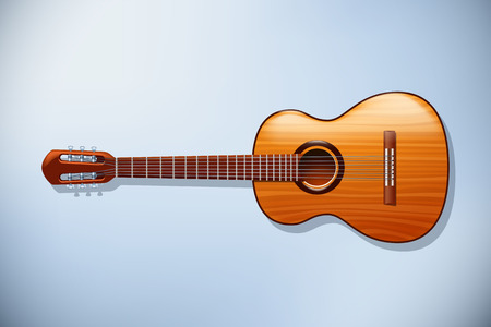 frets: illustration of classic wooden guitar with front view on light background Illustration