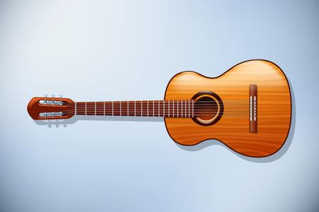 frets: ilustraci�n de guitarra cl�sica de madera con vista frontal sobre fondo claro