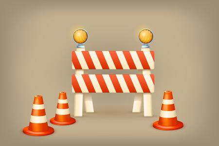 blocco stradale: ilustration di simboli di zona limitata che sono in fase di costruzione