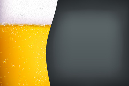 dark lager: illustration of light beer with bubbles on dark grey background