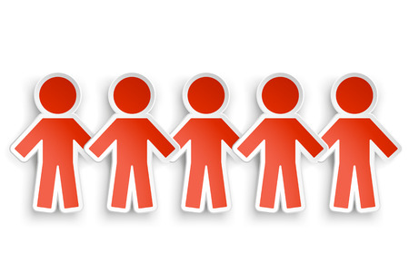 illustration of red color paper people group with shadow