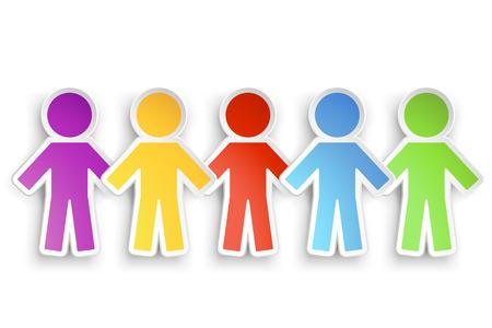 mensen groep: illustratie van verschillende kleuren papier groep mensen met schaduw