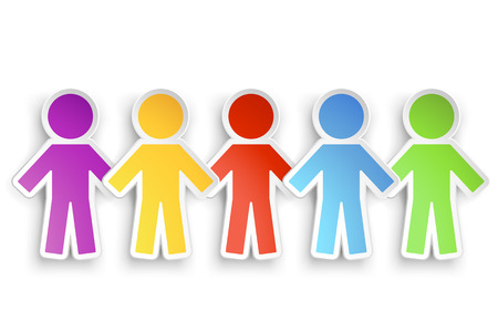 illustration of different color paper people group with shadow Ilustracja