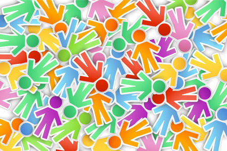 linked hands: illustration of a lot of different color paper peoples on background Illustration