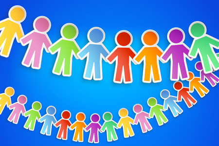 linked hands: illustration of different color paper people group with shadow on blue background Illustration