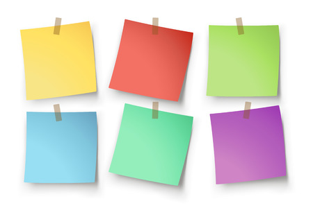 sticky paper: illustration of paper lists set with different color and shadow Illustration