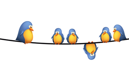 illustration of group of birds sitting on wires on white background