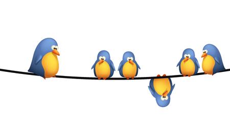 Illustration der Gruppe der Vögel sitzen auf Drähte auf weißem Hintergrund