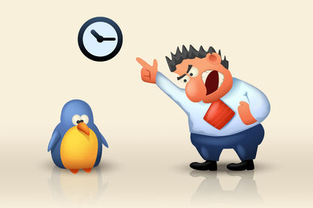 scold: illustration of yelling boss to employer which are late on bright background