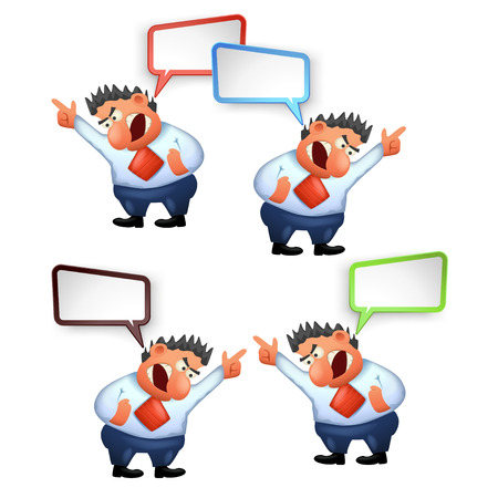 illustration of yelling boss with clean colored bubble on white background
