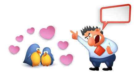 reprimand: illustration of yelling boss to two birds with hearts on white background