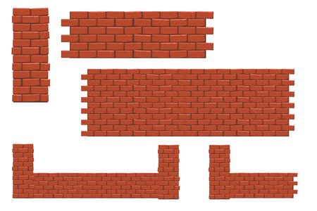 red brick wall: illustration of set of red brick pieces such as wall, column, gates on white background