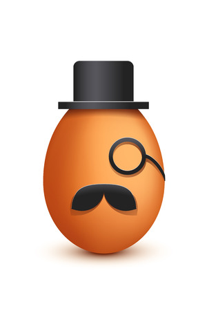 brown egg: illustration of old brown egg boss with hat and monocle on white background Illustration