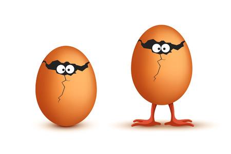 huevo caricatura: ilustración de dos huevos divertida con los ojos y las piernas con la sombra
