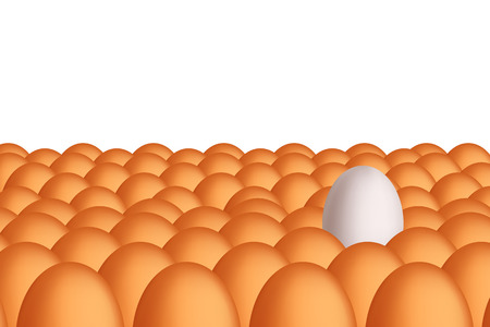 equal opportunity: illustration of crowd of eggs with two colors on white background