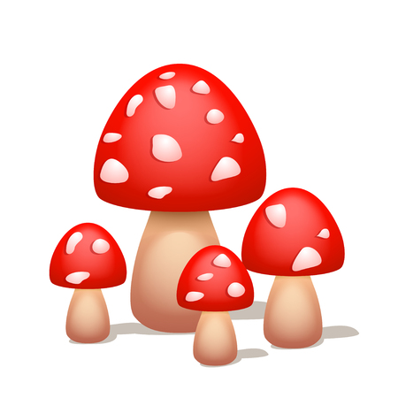 macroscopic: illustration of group of red mushrooms with shadow on white background