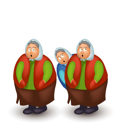 clipart wrinkles: illustration of few funny granny on white background with light shadow