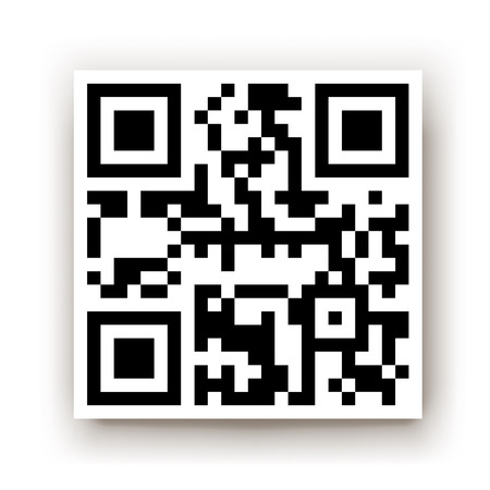 qrcode: illustration of square qr code with transparent shadow on white background