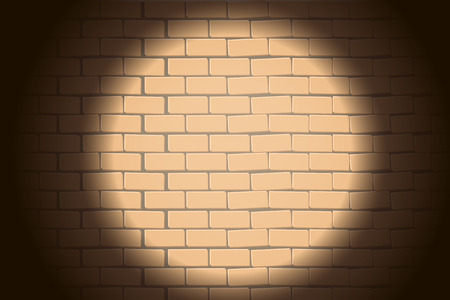 illustration of brickwall with round light in the darkness on it
