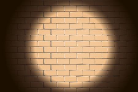 brickwall: ilustraci�n de brickwall con luz redonda en la oscuridad en �l