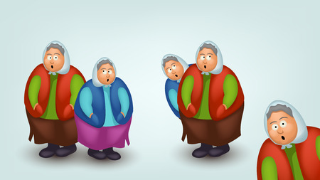 clipart wrinkles: illustration of set of few surprised grannys with shadows on blue background Illustration