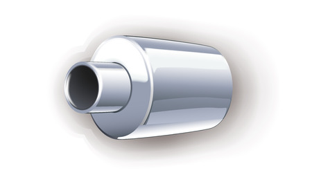tailpipe: illustration of car pipe on white background with shadow Stock Photo