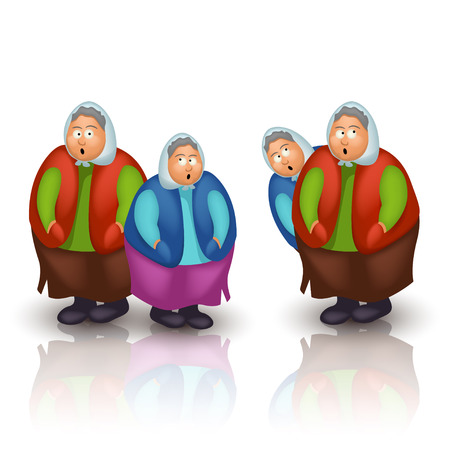 clipart wrinkles: illstration of few grannys with reflection of white background