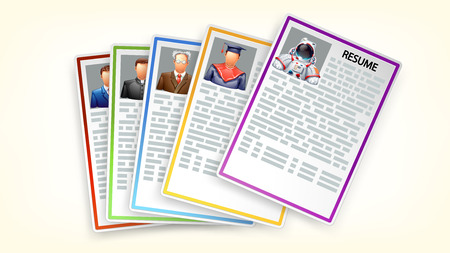 illustratin: illustratin of group of different resumes with shadows