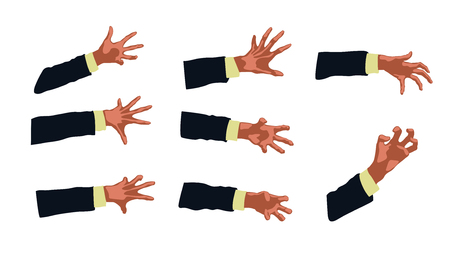 cartoon vampire: illustration of different zombie hands set on white background