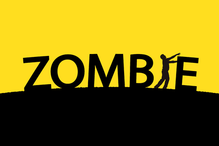 illustration of word zombie with single silhouette of man on yellow background