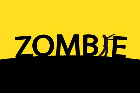黄色の背景の男のシルエットが単一言葉ゾンビのイラスト