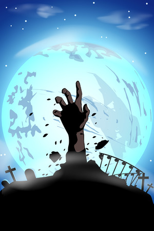 illustration of silhouette zombie hand at the moon