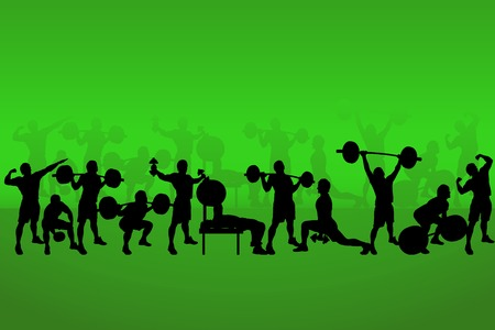 bodybuilding: illustration of set of bodybuilders on green back
