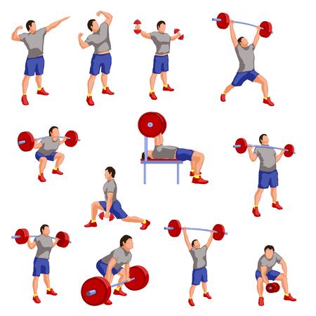 body man: ilustraci�n silueta de atletas masculinos deifferent wivh est�n trabajando