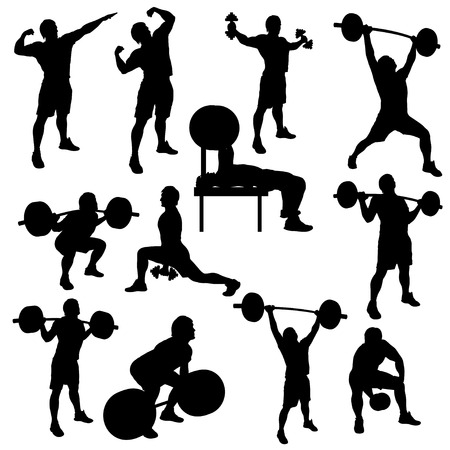 barbell: silhouette illustration of deifferent male atheletes wivh are working out Illustration