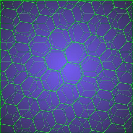 blue cells: illustration of green hexagon cells on blue background. background is blue to dark blue color Illustration