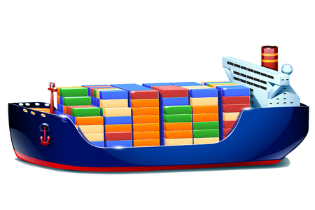 ferry boat: illustration of tanker isolated on white background