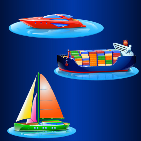 supertanker: set of different types of boats on blue background with piece of sea