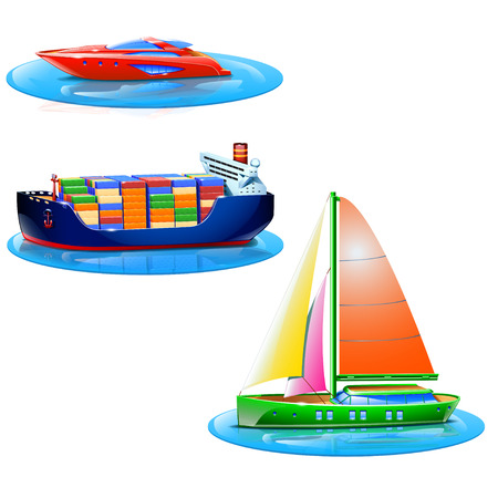 supertanker: set of different types of boats. isolated on white background Illustration