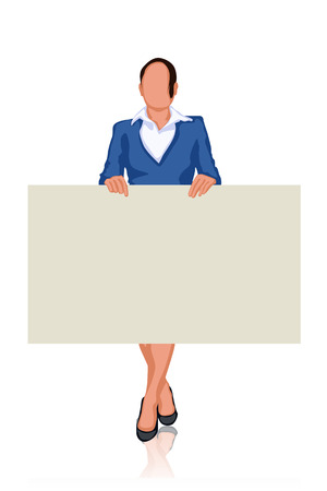stay: illustration of businesswoman stay and hold label
